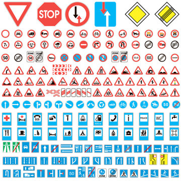 Different highly detailed and fully editable vector traffic road sign collection. Set of road sign collection warning, priority, prohibitory symbol. Road sign european and american, vector