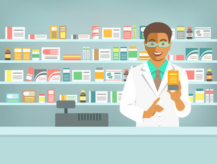 Pharmacist at counter in pharmacy. Black man druggist stands opposite shelves with medicines and points to drug. Flat vector illustration. Health care medical background. Drugstore cartoon banner