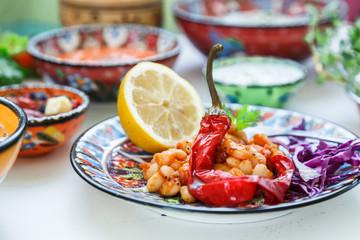 Mediterranian baked white beans with hot pepper