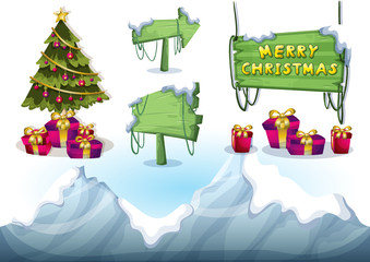 cartoon vector christmas landscape object with separated layers for game and animation game design asset in 2d graphic