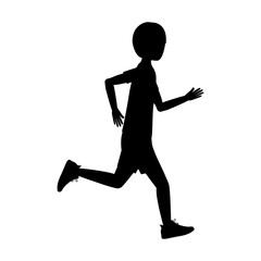 Girl running icon. Sport hobby and training theme. Isolated design. Vector illustration