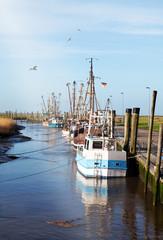 Kutterhafen mit Krabbenkutter in Spieka-Neufeld an der Nordseeküste