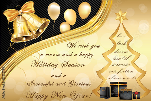 elegant corporate christmas and new year greeting card contains jingle bells christmas tree
