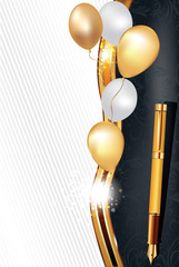 Elegant black celebration background with balloons and an elegant pen (fountain) , for birthdays, weddings or any other occasion. Size of a printing card - A7, CMYK colors used.