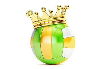 Gold crown on the volleyball ball, 3D rendering