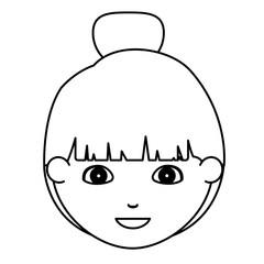 Girl cartoon face icon. Kid child little and people theme. Isolated design. Vector illustration