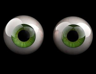 3D realistic human green eyeballs