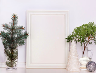Picture frame Christmas mockup, stock photography.
