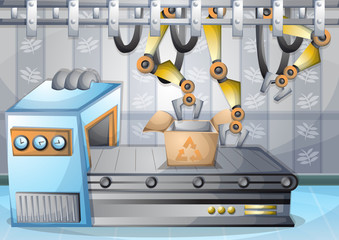 cartoon vector illustration interior factory room with separated layers in 2d graphic