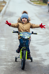 Cute little boy on bike