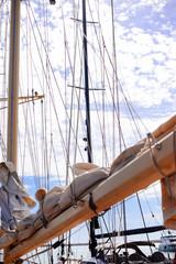 Sailing ship detail closeup image of rope, marine background