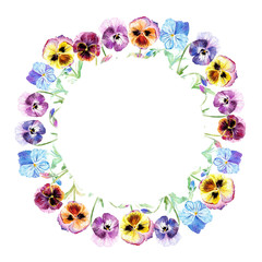 Floral wreath.Pansy flowers.Watercolor hand drawn illustration.Violets on a white background.