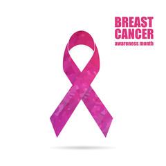 Breast cancer awareness pink geometric ribbon. Vector illustration.