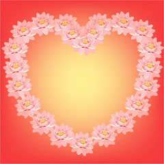 card with pink lotus flowers in the shape of a heart.