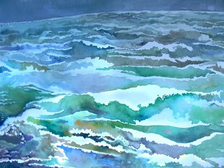 Baltic Sea. Watercolor with green waves for background.