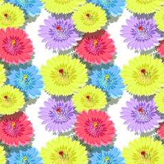 seamless pattern of cactus flowers with shadow.