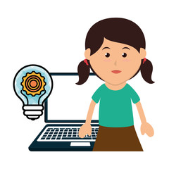 avatar girl smiling with laptop computer and gear bulb icon. colorful design. vector illustration