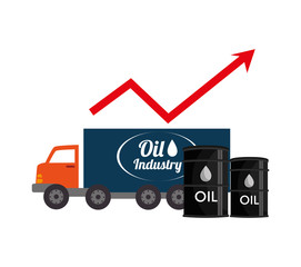 oil cargo truck and cans with financial red arrow up. vector illustration