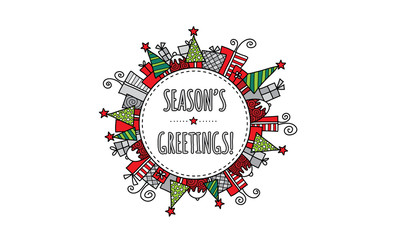 Season's Greetings Christmas doodle vector illustration with the words season's greetings in a circle surrounded by christmas trees, presents, puddings, and stars.