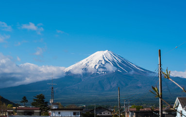 Fuji Mountain view from Japanese countryside town and blue sky background.