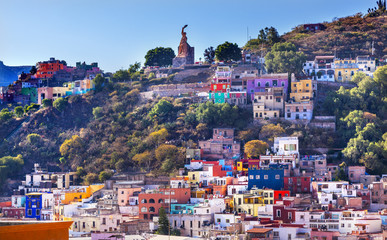 Many Colored Houses El Pipila Statue Guanajuato Mexico