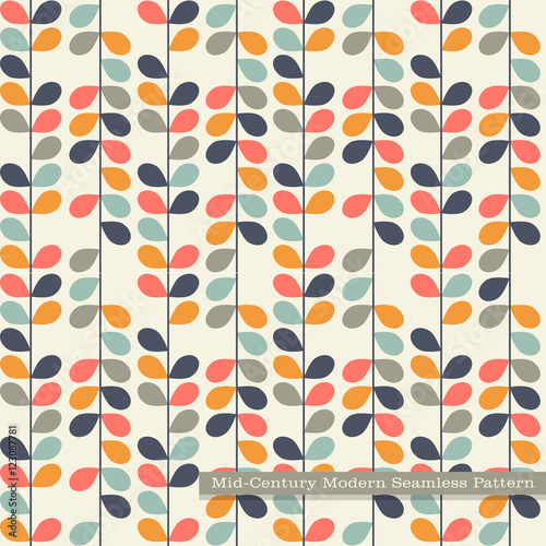 Seamless Retro Pattern In Mid Century Modern Style Abstract Vines Vintage Colors