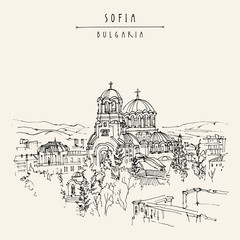 St. Alexander Nevsky Cathedral in Sofia, Bulgaria. Hand drawing in retro style. Travel sketch. Vintage touristic postcard, poster, calendar or book illustration