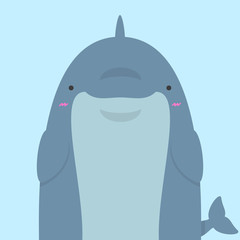 cute big fat dolphin on blue background