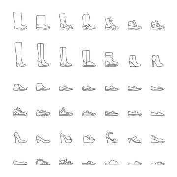 Shoes icons, men and women fashion shoes, line icons set. Vector illustration