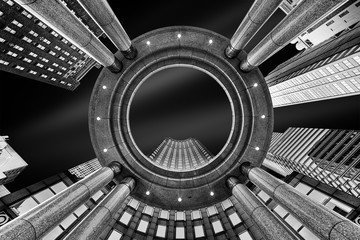 Fine Art, black and white, abstract, upward perspective of New York skyscrapers