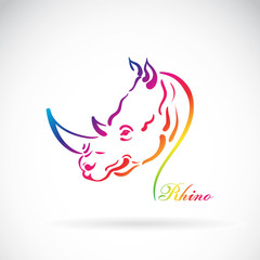 Vector of hand sketch a rhino head on a white background. Animal