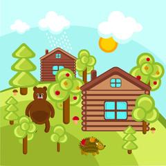 Деревня в лесу вектор