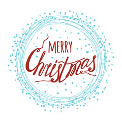 Merry Christmas lettering background with typography element
