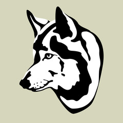 Wolf head vector illustration stylized style flat