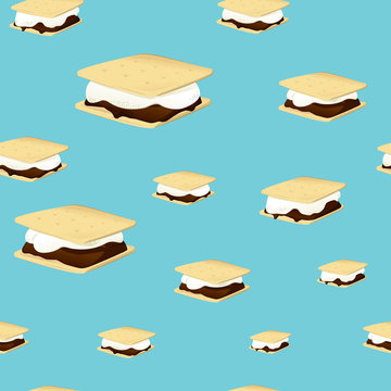 Vector illustration of a seamless pattern with smores on blue background. Campfire snack