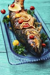 Fish baked in stylish dish