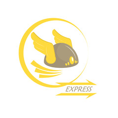 Express delivery. Metaphor. Icon with wings on his helmet. Armor. Vector