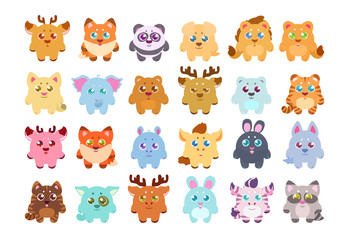 Big stickers, patches collection: cute cartoon baby animals, fauna of the world, icon set isolated on white. Hand drawn colorful Vector illustration.