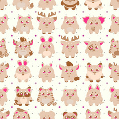 Big stickers, patches collection: cute cartoon baby animals, fauna of the world, icon set isolated on white. Hand drawn colorful Vector illustration, seamless pattern.