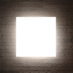 White sign and Lighting design on modern brick wall