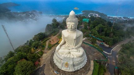 Big Buddha statue Was built on a higt  hilltop of Phuket Thailand Can be seen from a distance.