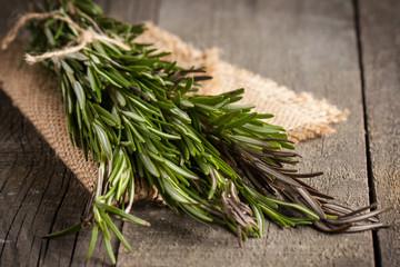 Organic, natural and fresh bunch of rosemary on the table