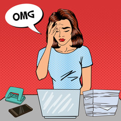 Pop Art Business Woman has a Headache at Office Multi Tasking Work. Vector illustration