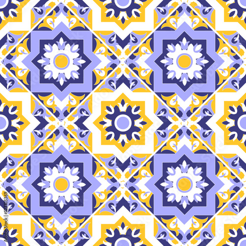 Floral Tile Pattern Vector Seamless Colorful Blue White