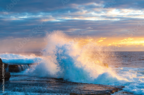 Dramatic nature scene  Powerful surf conditions on coast