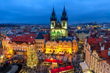 Old Town Square in Prague at Christmas time.