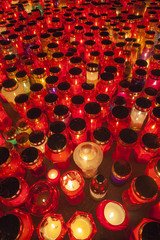 Thousands of candles illuminating a cemetery during