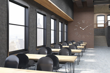 Coffee shop with clocks