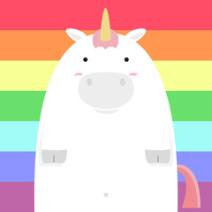 cute fat big unicorn horse on rainbow background