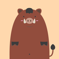 cute fat wild boar pig on nude color background